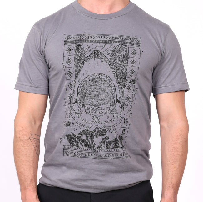 Grey Illustrated Shark Attack Tee