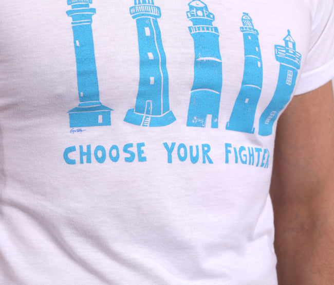 "Provincetown White ""Choose Your Fighter"" Lighthouse Tee Shirt"