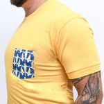 Golden Heather With Blue Koi Fish Pocket Tee