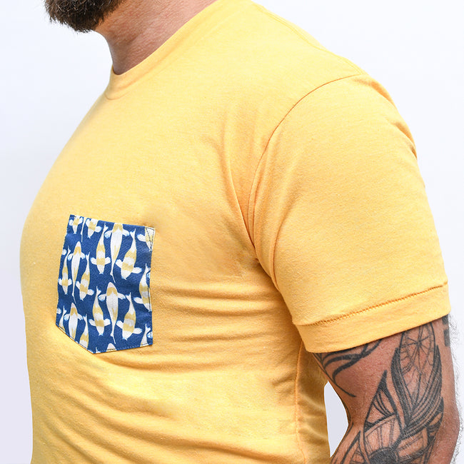 Golden Heather With Blue Koi Fish Print Pocket Tee