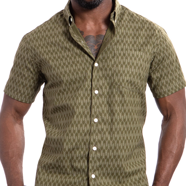 Olive Traditional Japanese Abstract Snake Print Shirt - Adam