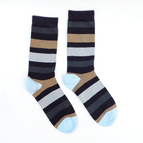 Blue, Black, Grey with Red Variegated Stripe Sock