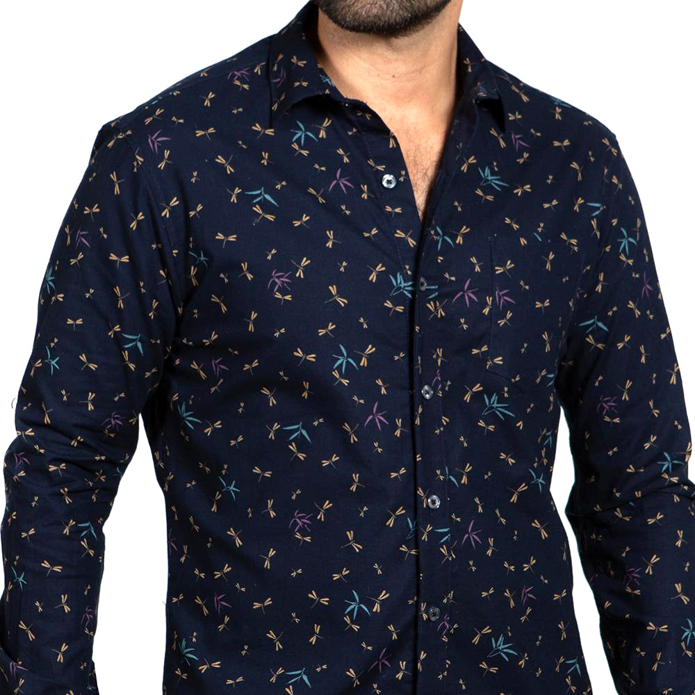 Navy Blue  Dragonfly Print Shirt - 'Steele'