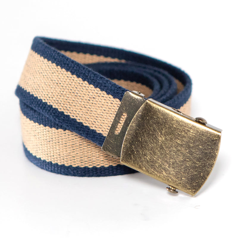 Navy & Khaki Stripe Cotton Web Military Belt