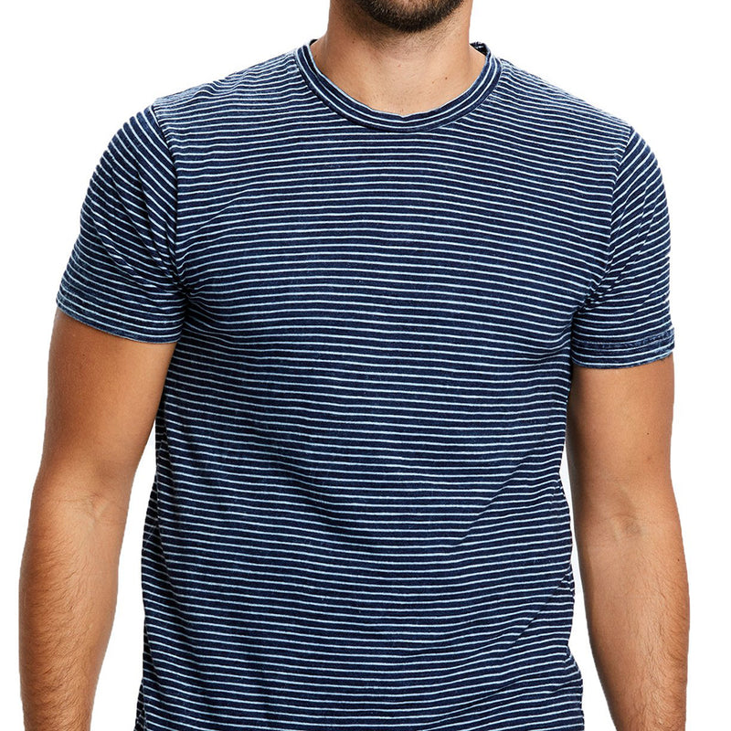 Navy & White Stripe Indigo Dyed Short Sleeve Tee Sizes L & XL Available