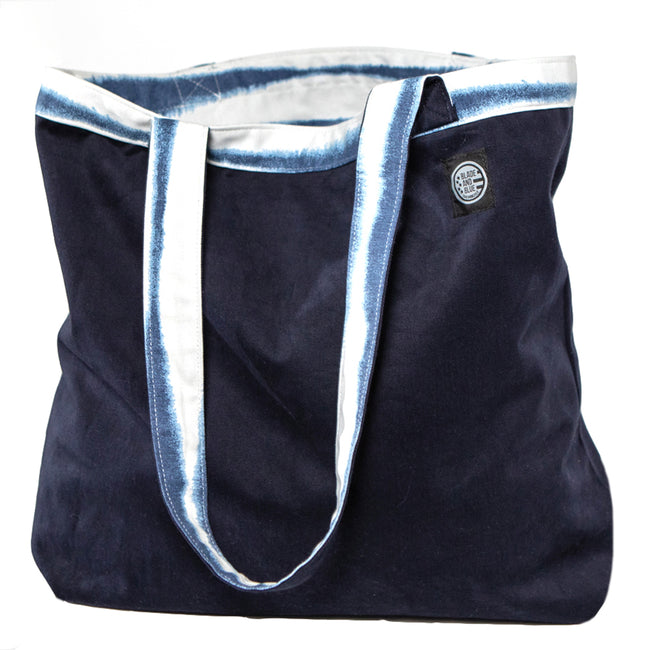Blue & White Faux Tie Dye & Brushed Navy Cotton Reversible Tote Bag