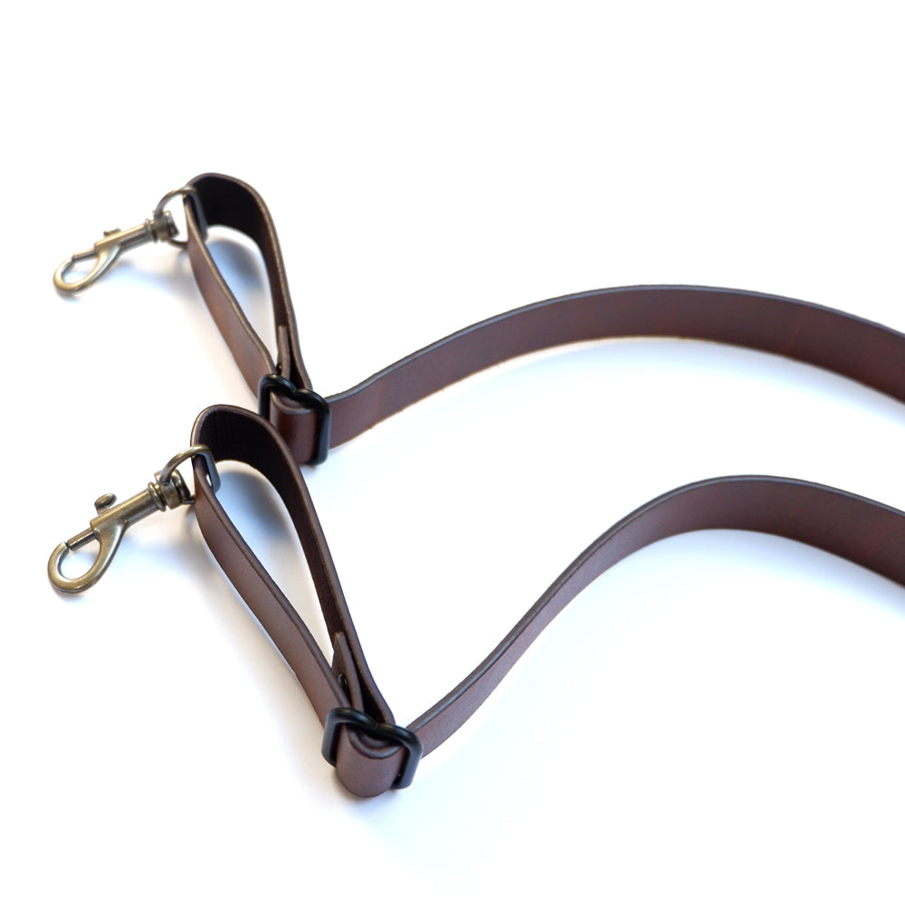 Brown Leather Skinny Suspenders with Metal Hook Closure