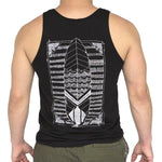Black Illustrated Surfboard Tank Top