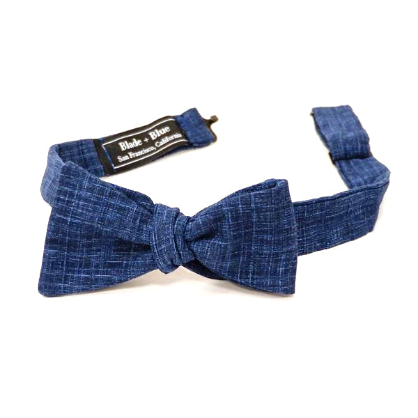 Solid Textured Deep Indigo Blue Bow Tie