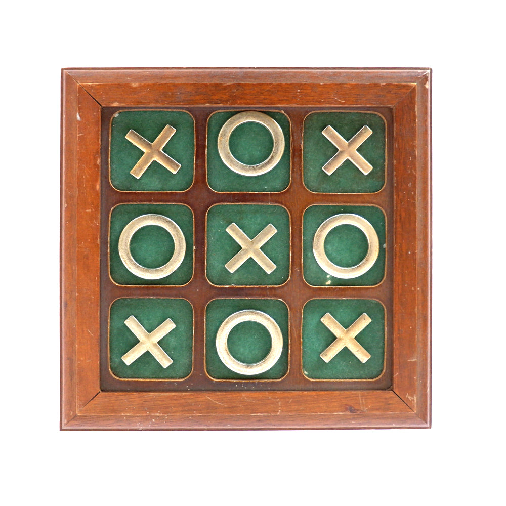 Vintage Brass & Wood Tic-Tac-Toe Set