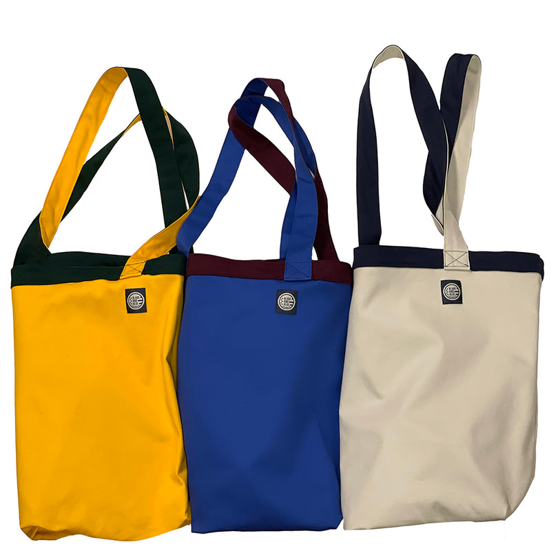 Navy Blue & Stone Cotton Stretch Reversible Tote Bag