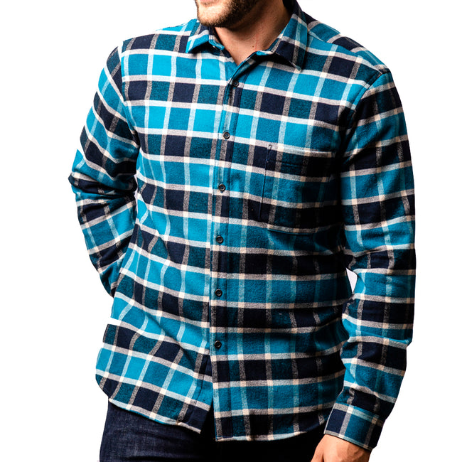 Aqua & Navy Blue Plaid Heavyweight Flannel Shirt - Tristan