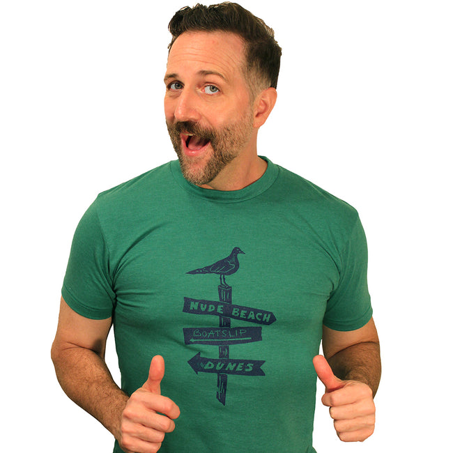Provincetown Green Gull Direction Tee Shirt
