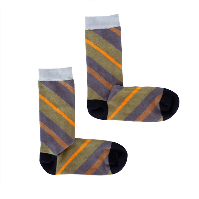 Olive, Grey & Orange Diagonal Stripe Socks