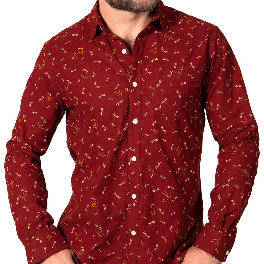 LIMITED TIME SALE: Red Dragonfly Print Shirt - 'Madison' Sizes S & XXL Available