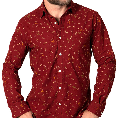 Red Dragonfly Print Shirt - 'Madison' One Piece Size S Available