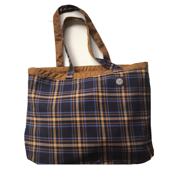 Whiskey & Navy Plaid Reversible Jumbo Tote Bag