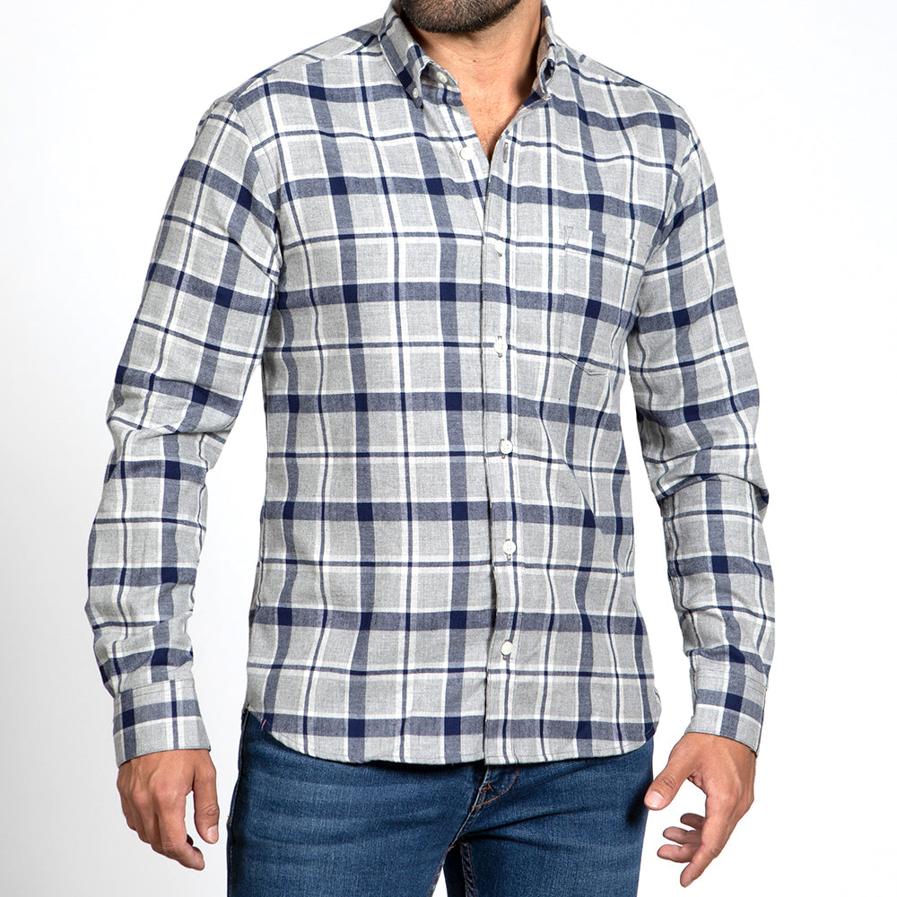 Grey, Blue & White Open Plaid Brushed Flannel - 'Southerland' One Piece Sizes L & XXL Available