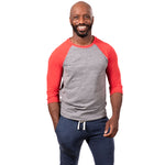 Grey Heather & Red 3/4 Raglan Sleeve Tri-Blend Baseball Tee
