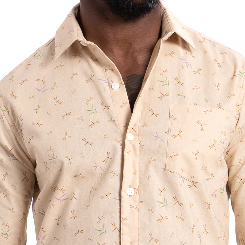 Very Limited Inventory Cream Japanese Dragonfly Print Shirt - 'Larkin' Sizes S & L Available