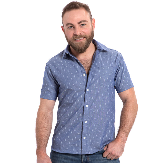 Blue Chambray Cactus Print Shirt - Drew