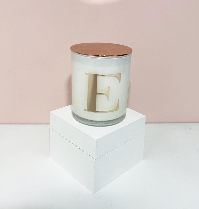 Rose Gold Initialed Candles