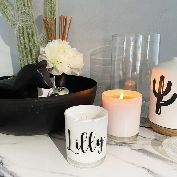 Personalised Candle - White Washed Lid