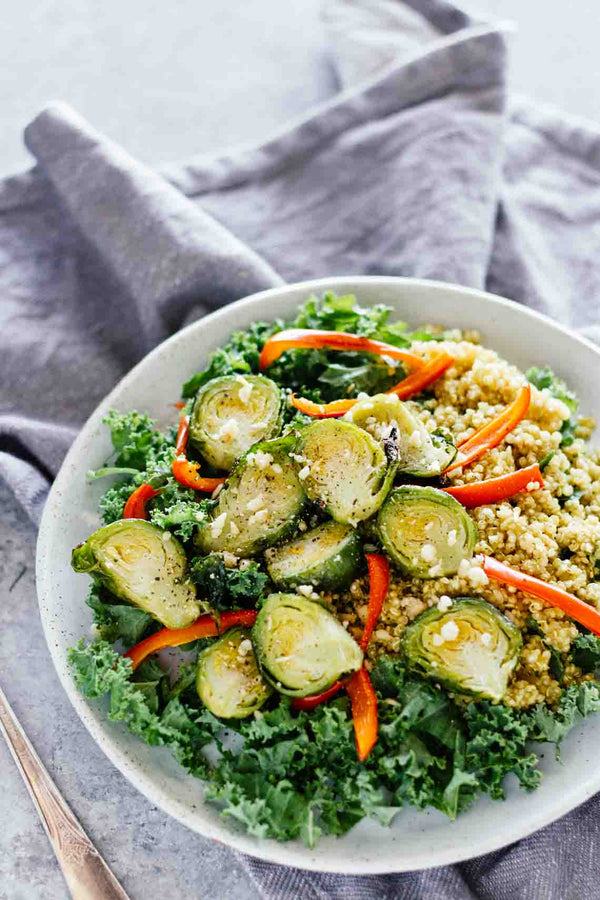 Roasted Brussel Sprout Quinoa Bowl R