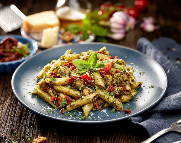 Pesto Cream Pasta with Roasted Chicken D