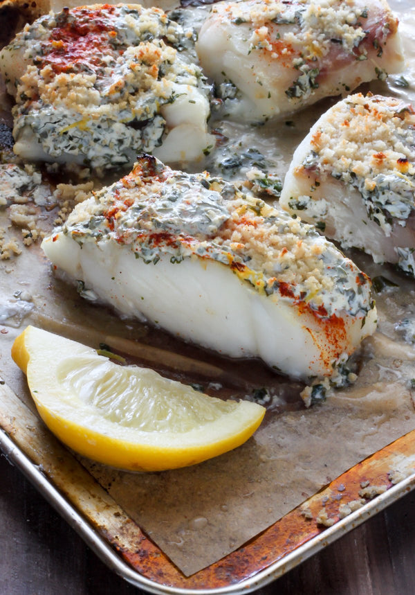 Yogurt Marinated Garlic Herb Roasted Cod R