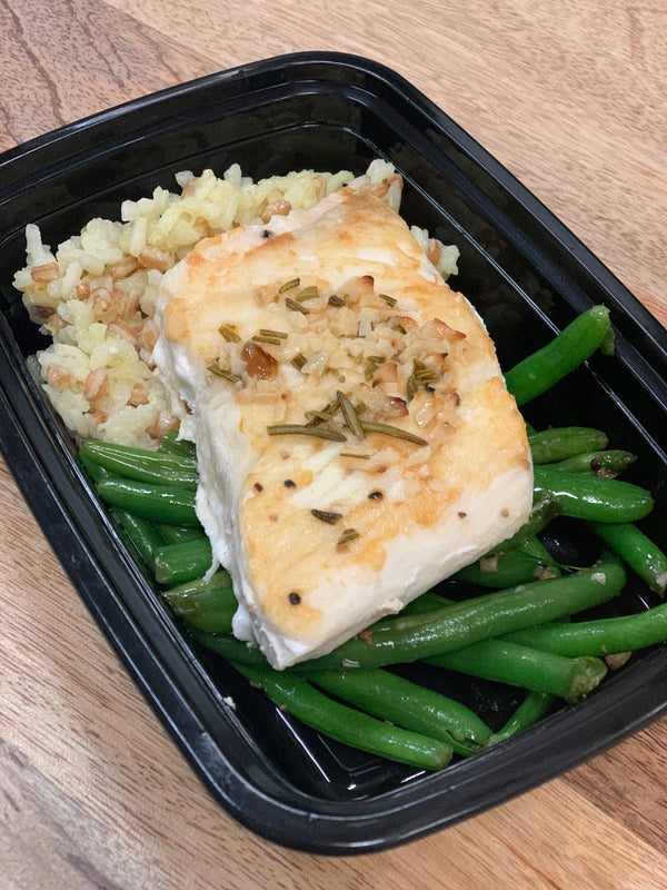 Lemon Garlic and Rosemary Seared Halibut D