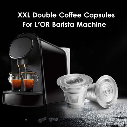 iCafilas Stainless Steel XXL Double Refillable Reusable Coffee Capsules L'OR BARISTA  Machine
