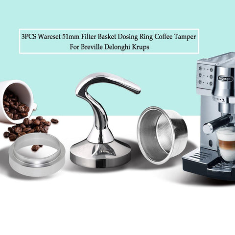 3PCS/Set 51MM Filter Basket Cup, Coffee Tamper and Dosing Ring Set for Breville, Delonghi, and Krups Coffee Machines