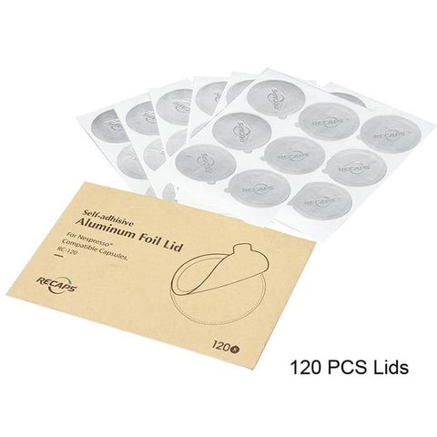 120 -360 PCS Recaps Adhesive Aluminium Lids Seals for Refillable Reusable Nespresso Pod Capsules
