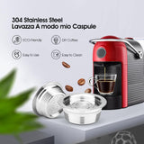iCafilas Stainless Steel reusable Coffee Capsules For Lavaza a Modo Mio machines
