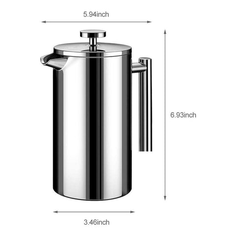 Stainless Steel Double Wall & Large Capacity Manual French press Cafetiere