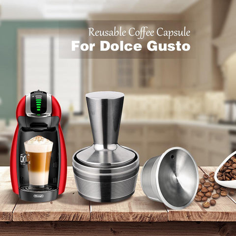 3 Pods 1 Tamper Dolce Gusto Reusable Capsule Recargable Nescafe Capsulas Metal Dolce Gusto Filter Caps Dolce Gusto Reutilizables