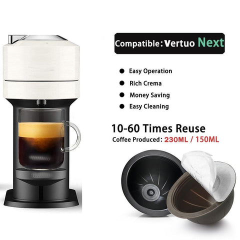 10 TO 60 Times Using Food Grade PP Coffee Capsule For Vertuo Next ENV150 Vertuoline Plus Refillable Pods