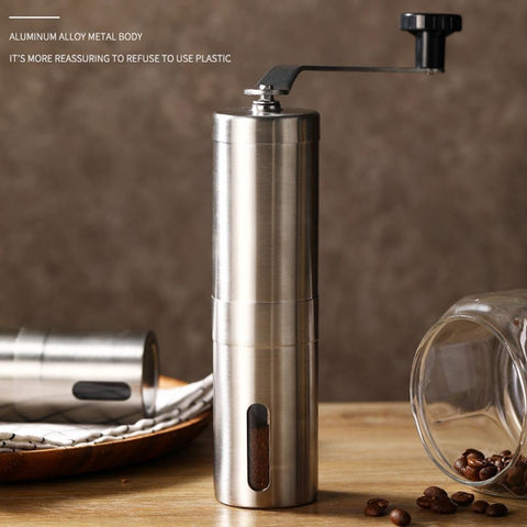 Manual coffee grinder for French embossing machine, hand-held mini, K cup, brushed stainless steel portable conical grinder