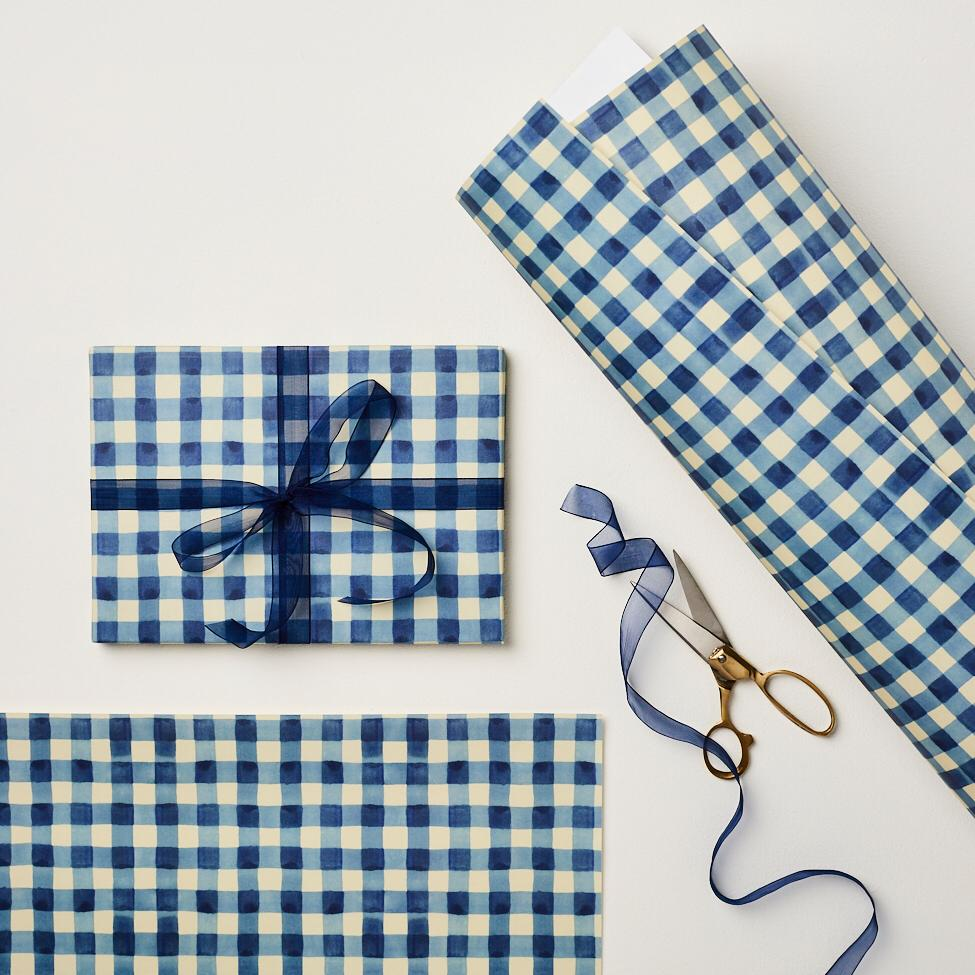 Blue Gingham Patterned Paper