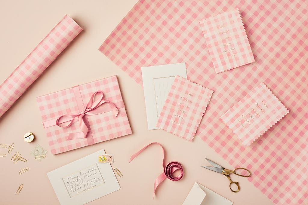 Pink Gingham Patterned Paper
