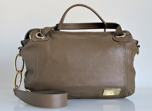 Genuine Leather Bag With Two Handles and Strap
