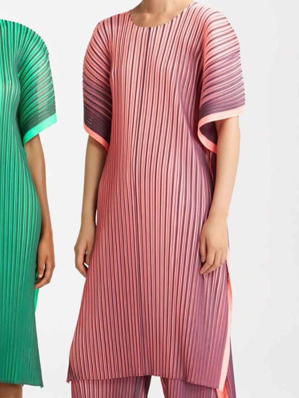 Pleats Please Issey Miyake Pink Alt Colour Dress