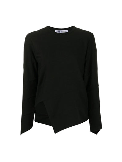 CDG CDG Black Asymmetrical Long Sleeve Top