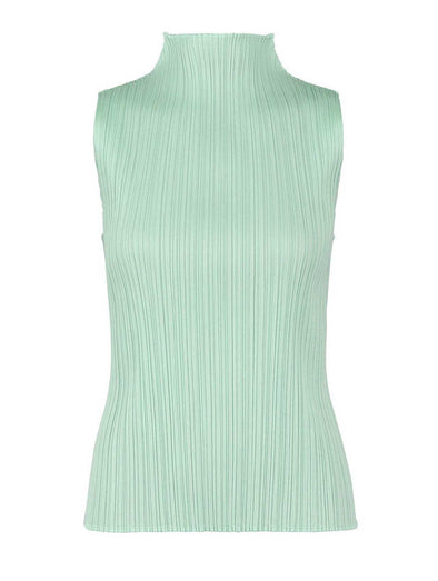 Pleats Please Smoky Green Monthly Colours High Collar Top
