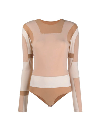 MM6 Beige Appliqué Full Sleeve Body Suit