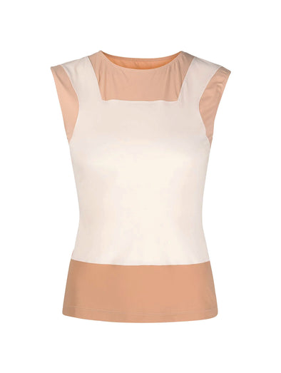 MM6 Beige Appliqué Sleeveless Top