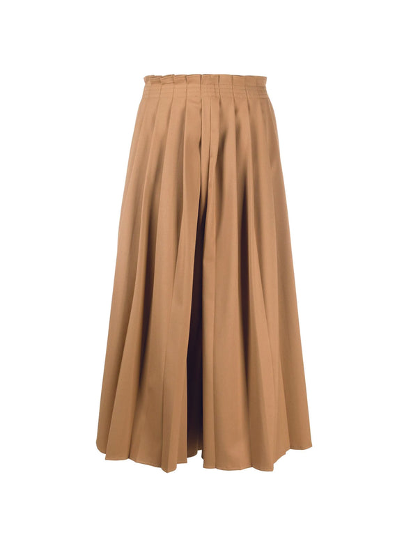 MM6 Camel Brown Pleated Wide Leg Pants