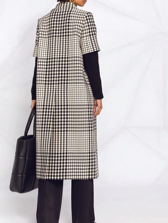 MM6 Black White Layered Sleeve Coat