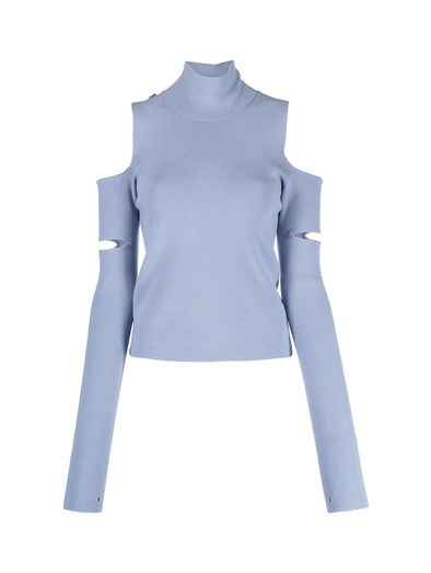 MM6 Blue Cut Out High Neck Top